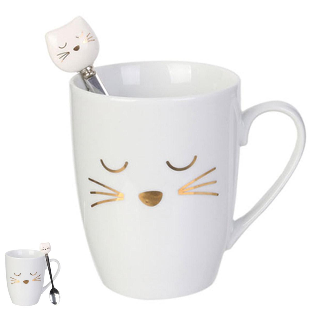 Mug porcelaine \'Chats\' blanc (avec cuillère) - 30 cl - [R2423]