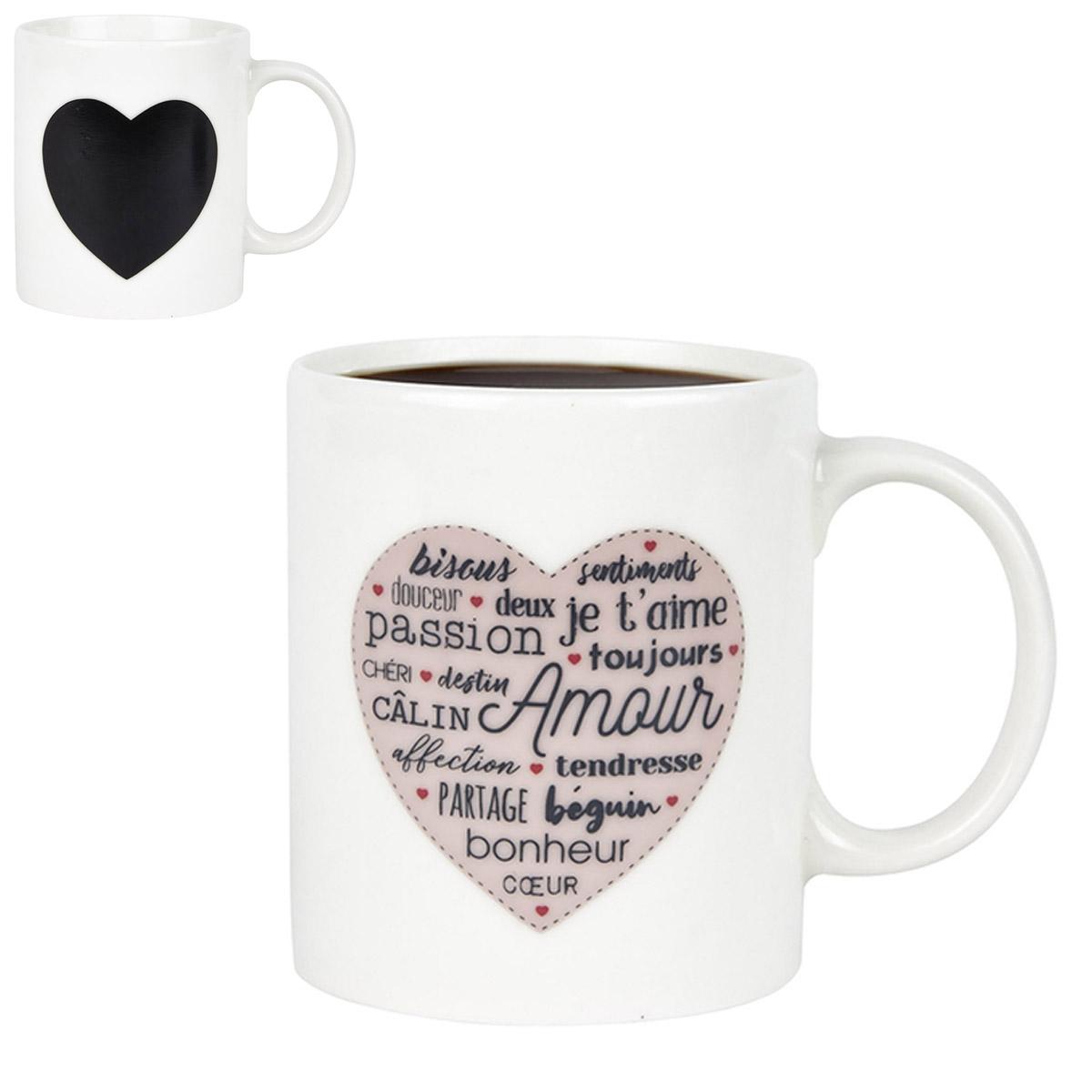 Mug céramique thermique \'Mots d\'Amour\' noir blanc - 90x75 mm (30 cl) - [R2424]