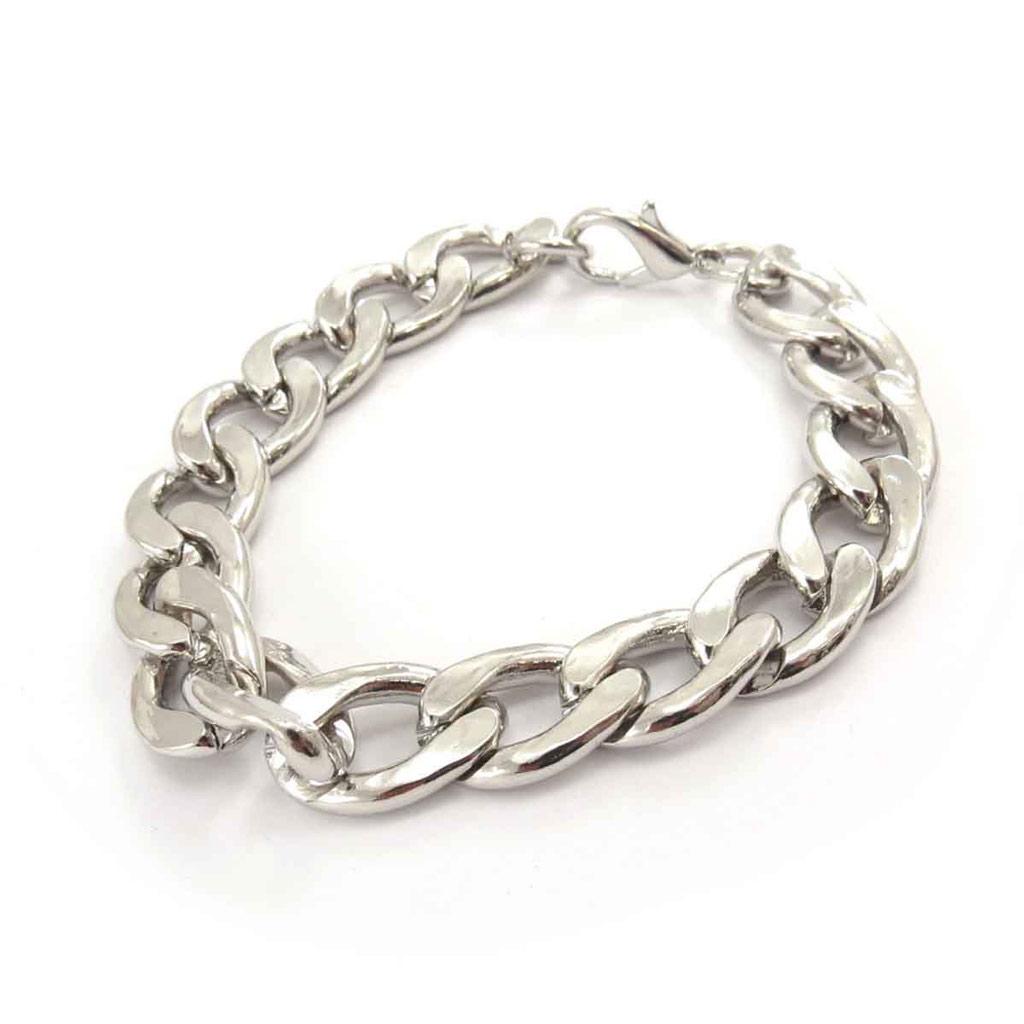 Bracelet \'Maille Gourmette\' Argenté  - [J7042]