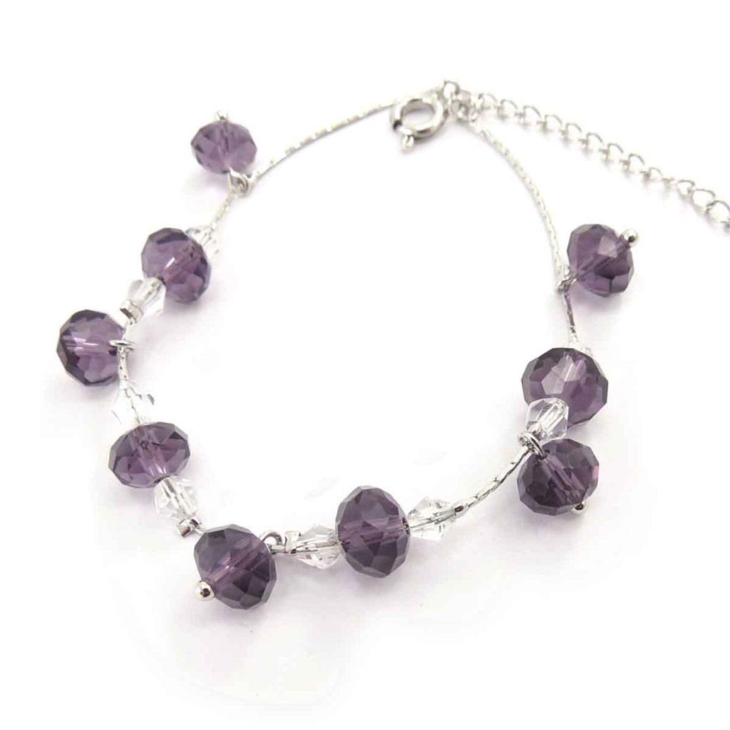 Bracelet créateur \'Minéralia\' violet blanc - [J7043]