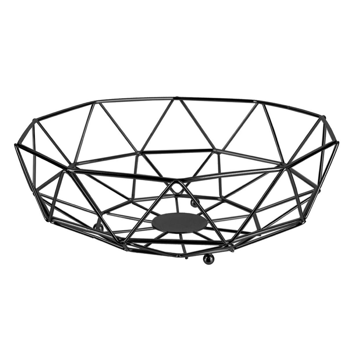 Corbeille filaire métal \'Boho\' noir - 28x10 cm - [R2430]