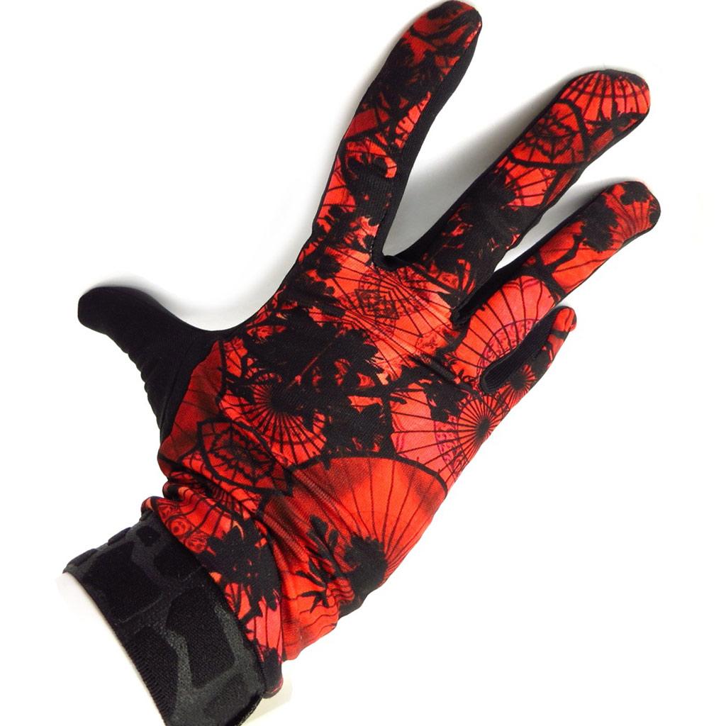 Gants créateur \'Geisha\' noir rouge - [K5773]