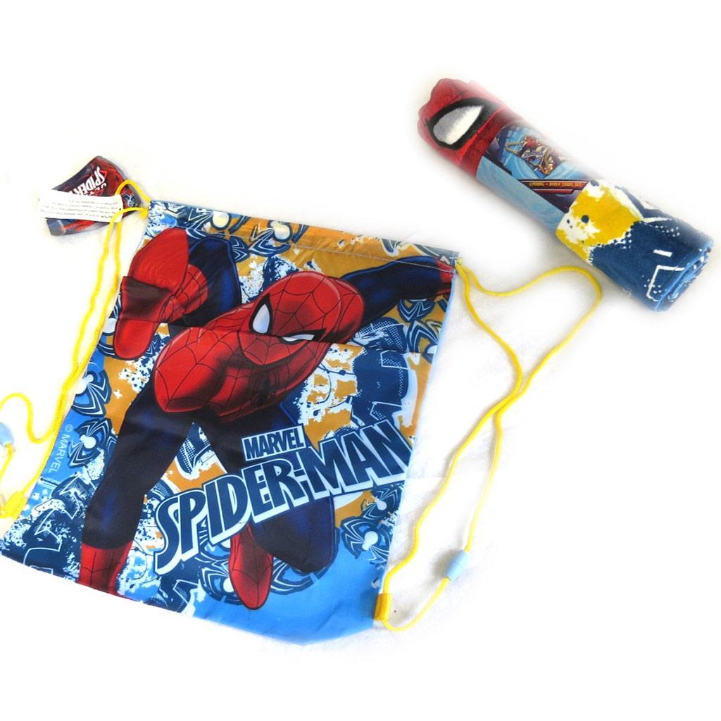 Set de plage \'Spiderman\' bleu rouge (serviette + sac piscine) 120x60 cm - [M5947]