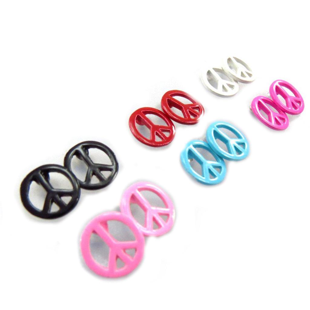 6 paires de boucles \'Peace\' multicolore - [J7137]