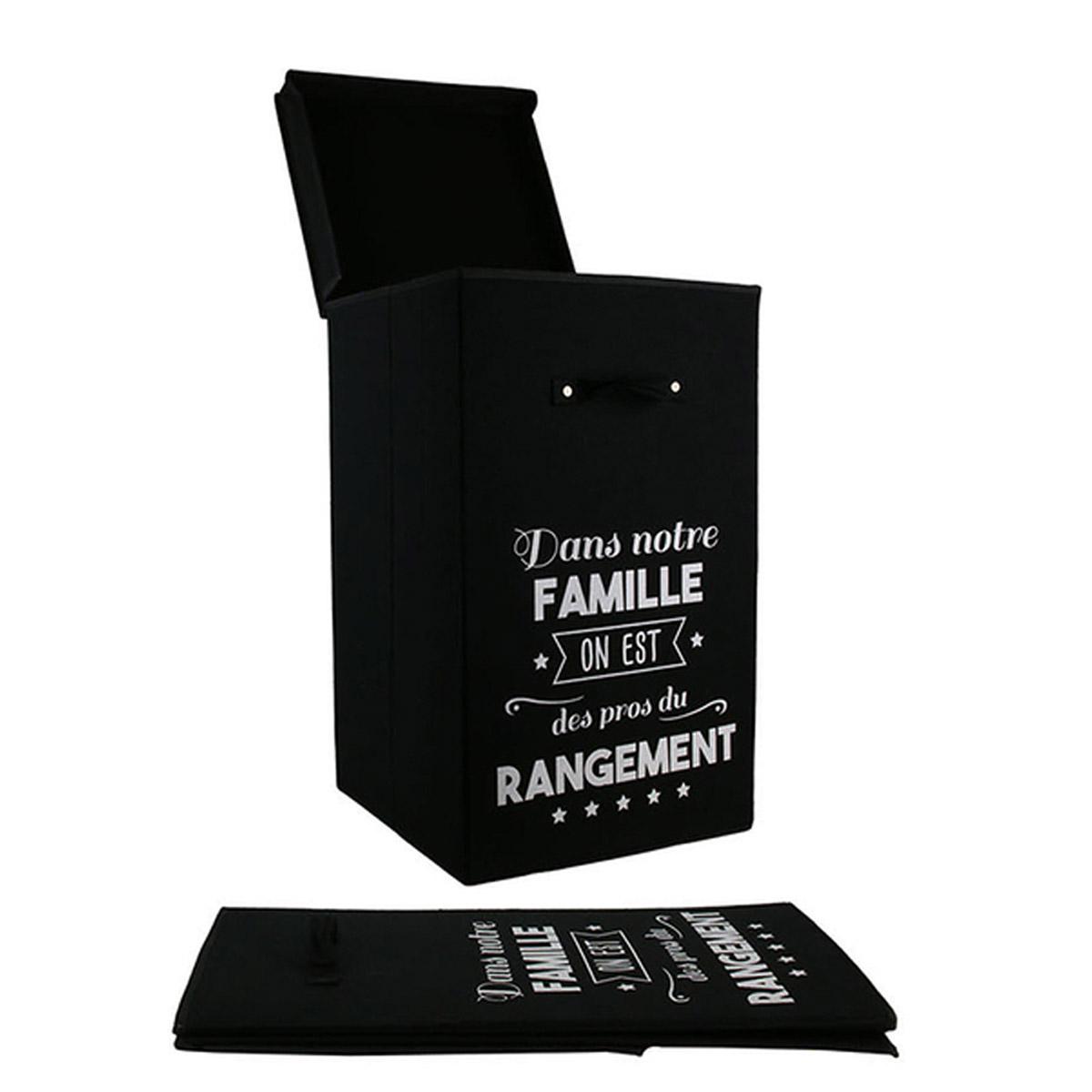 Bac à linge coton \'Messages\' noir  (Dans notre famille, on est des pros du rangement) - 58x35x35 cm (70L) - [R2470]