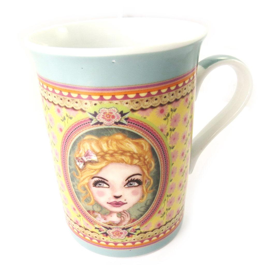 Mug porcelaine \'Lili Petrol\' turquoise (Chloé) - [M6002]