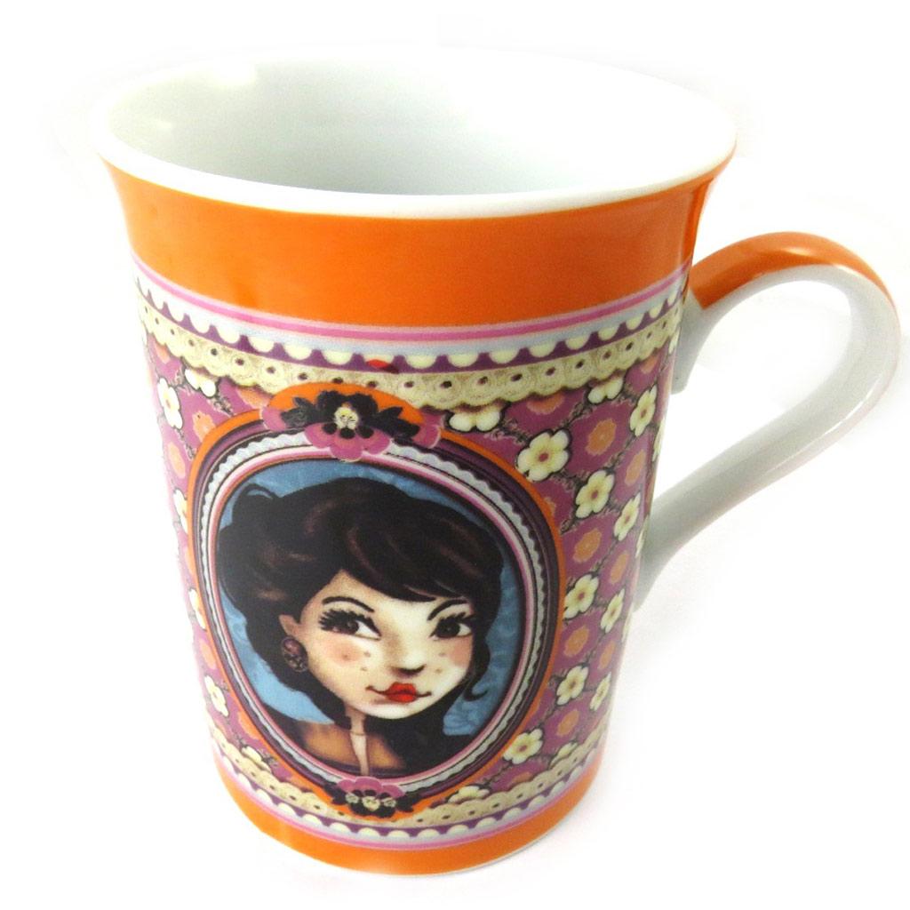 Mug porcelaine \'Lili Petrol\' orange (Emily) - [M6003]