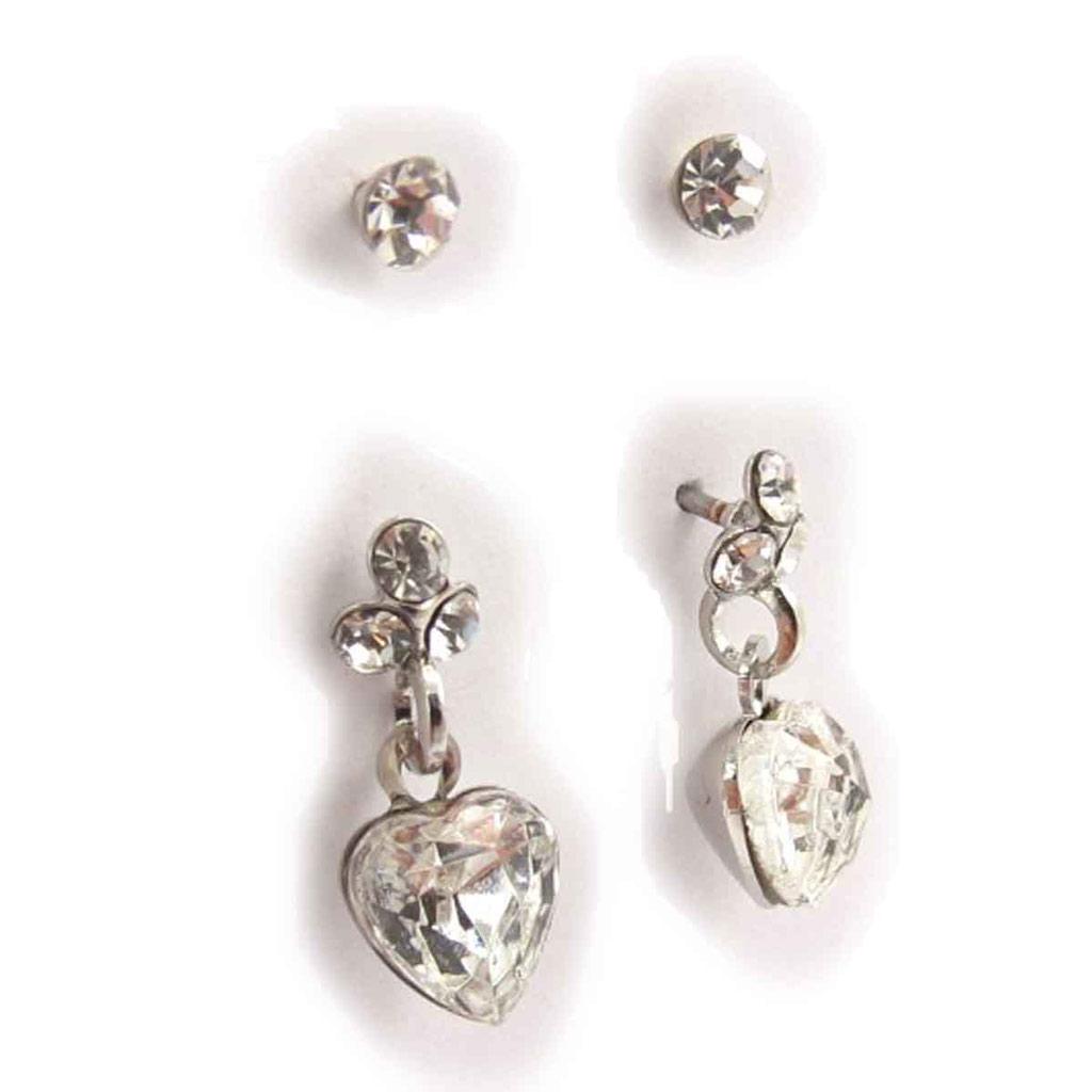 2 paires de boucles \'Sissi\' blanc - [J7182]