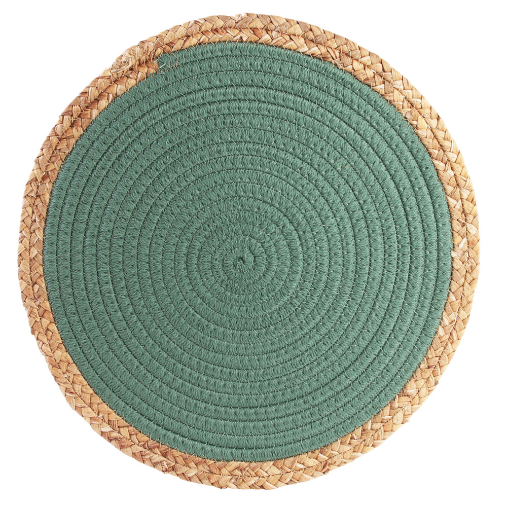 Set de table coton \'Boho\' vert beige - 38 cm - [R2510]