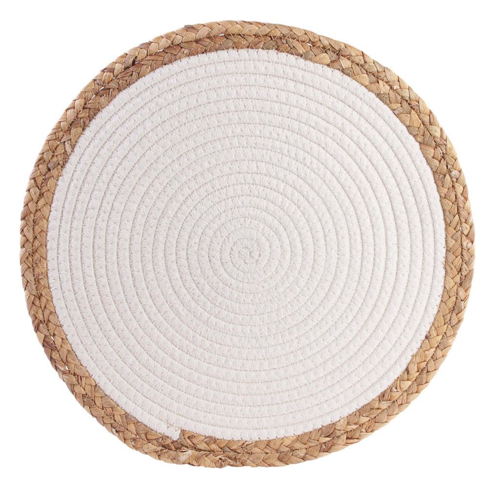 Set de table coton \'Boho\' blanc beige - 38 cm - [R2511]