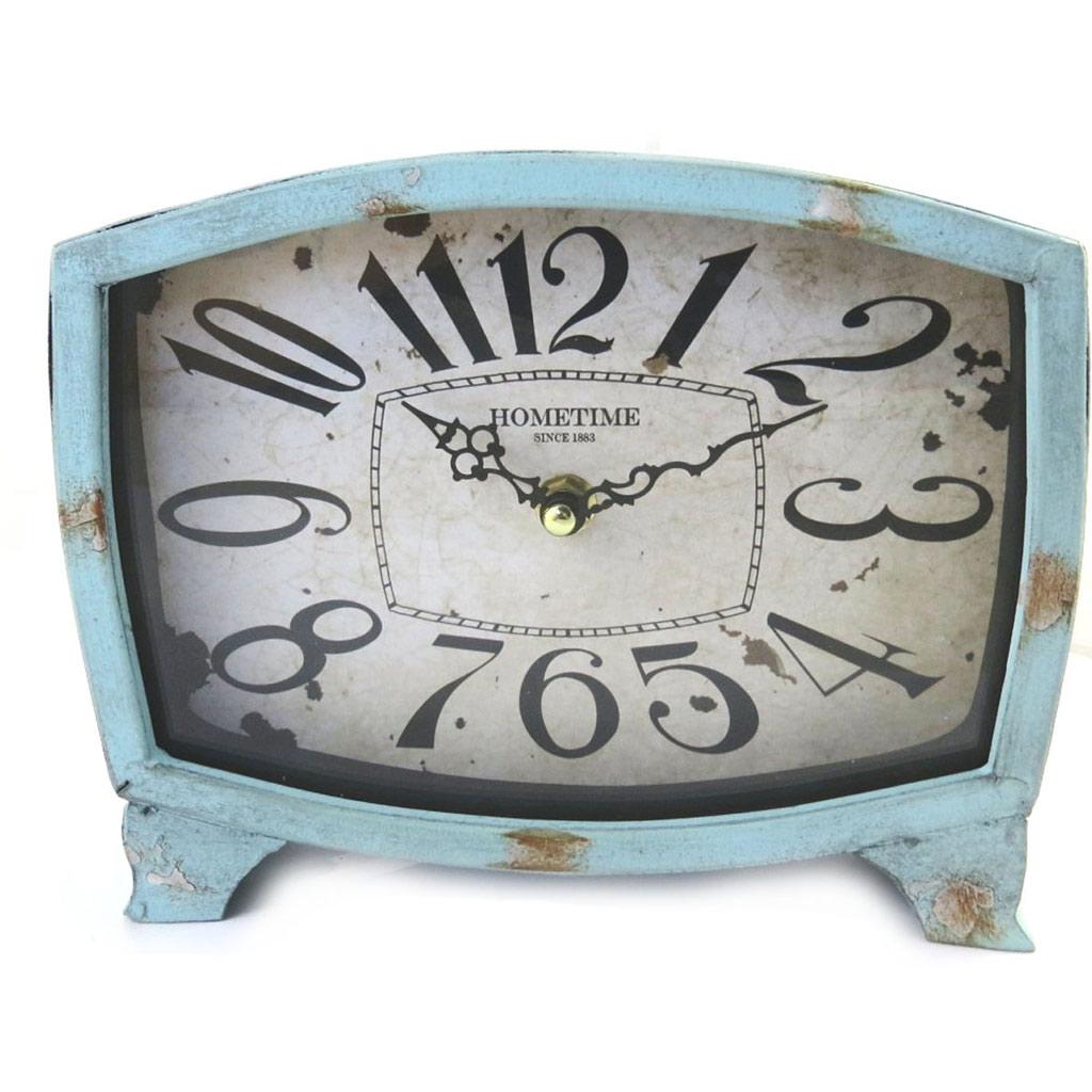 Horloge créateur \'Vintage Design\' bleu (20x18x6 cm) - [M6095]