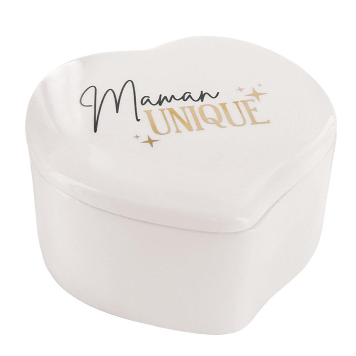 Boite à Bijoux céramique coeur \'Maman\' blanc (Maman unique) - 104x94x65 cm - [R2520]