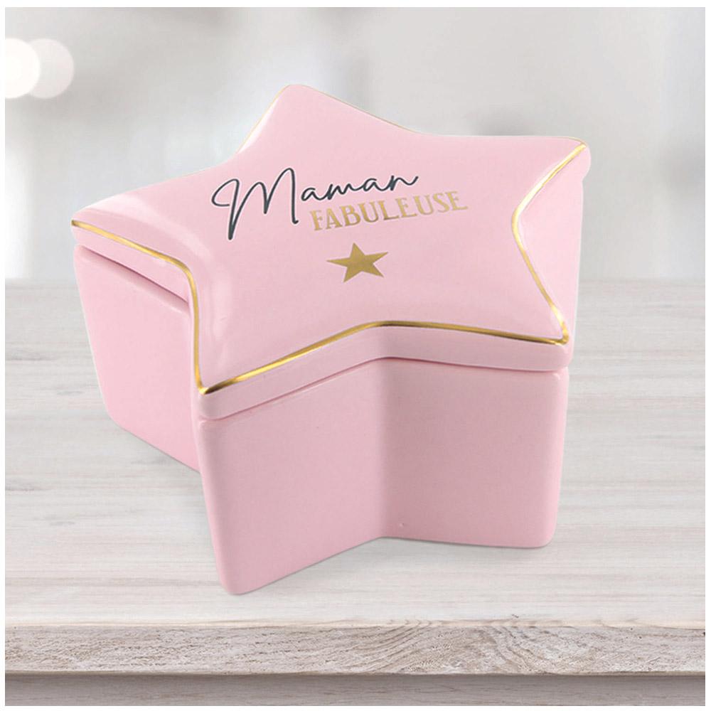 Boite à Bijoux céramique étoile \'Maman\' rose (Maman fabuleuse) - 104x94x65 cm - [R2521]