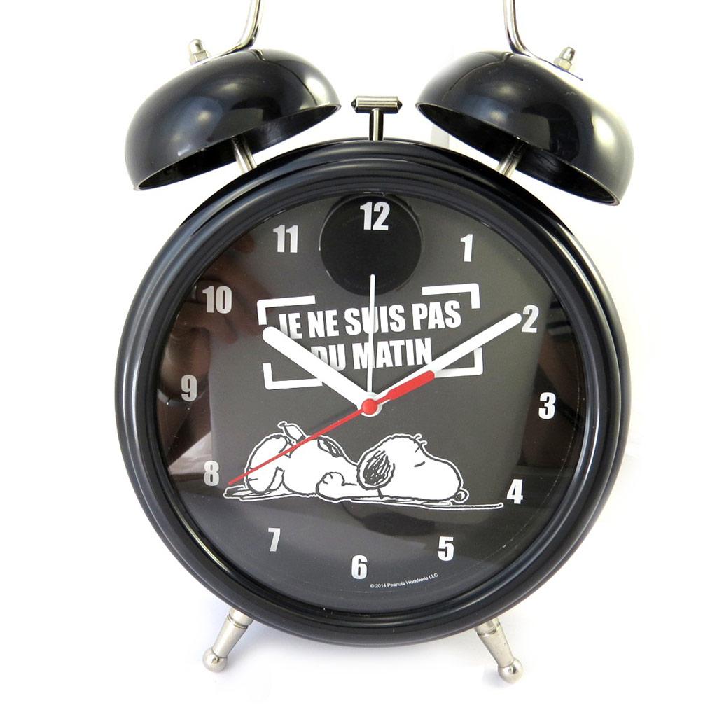 Réveil Cloche géant \'Snoopy\' noir (Je ne suis pas du matin) - [M6126]