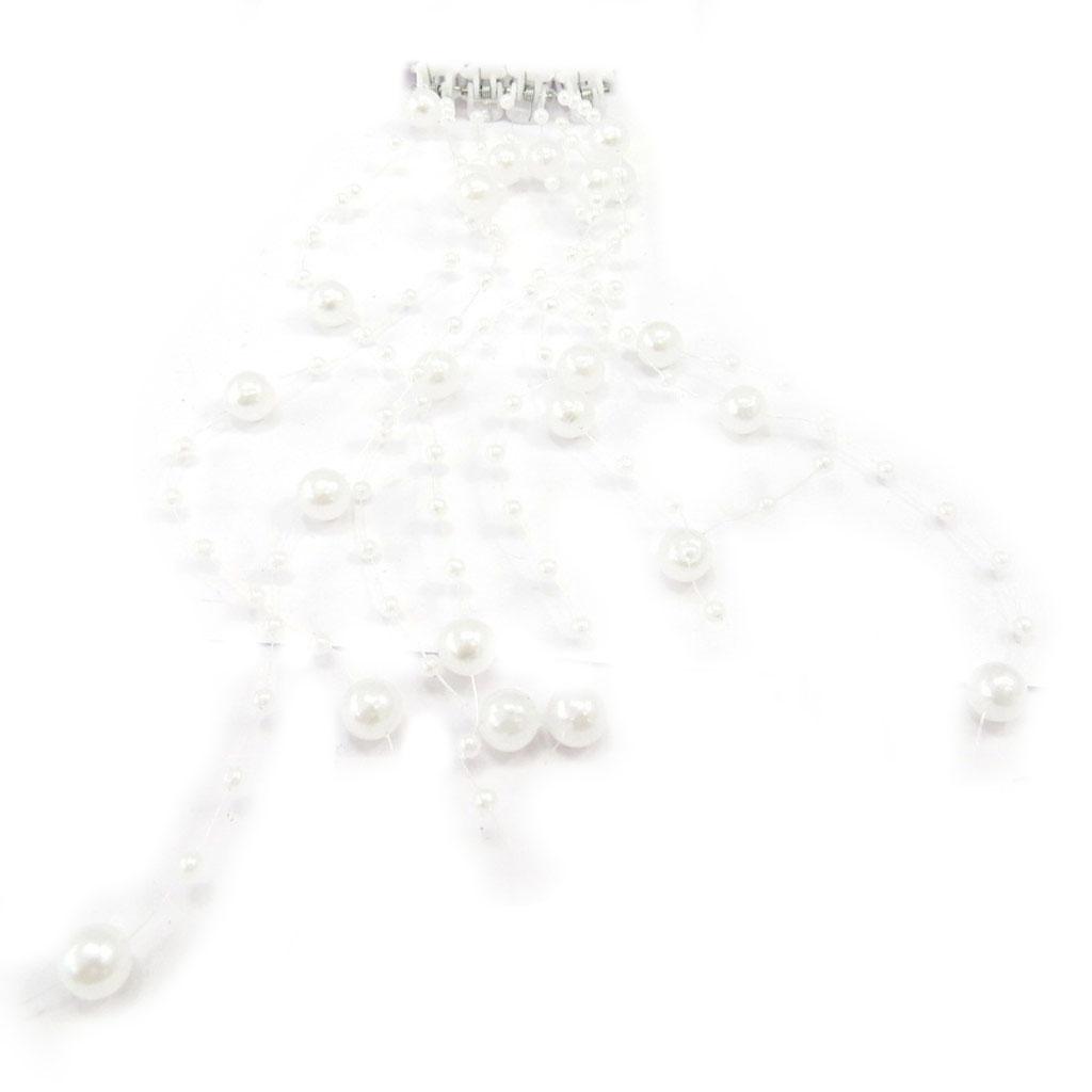 Set de 8 mèches \'Scarlett\' blanc (perles) - [K5922]