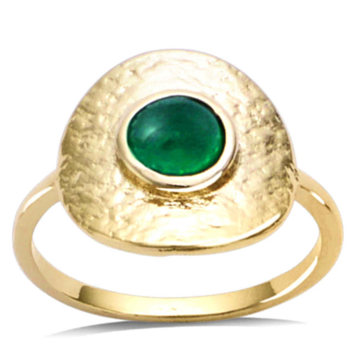 Bague Plaqué Or \'Cleopatra\' vert doré - 15 mm - [R2573]