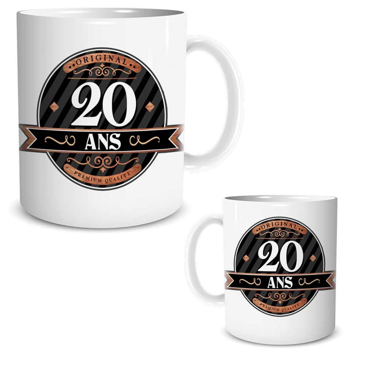 Mug céramique \'20 ans\' noir marron blanc - 95x80 mm - [R2596]