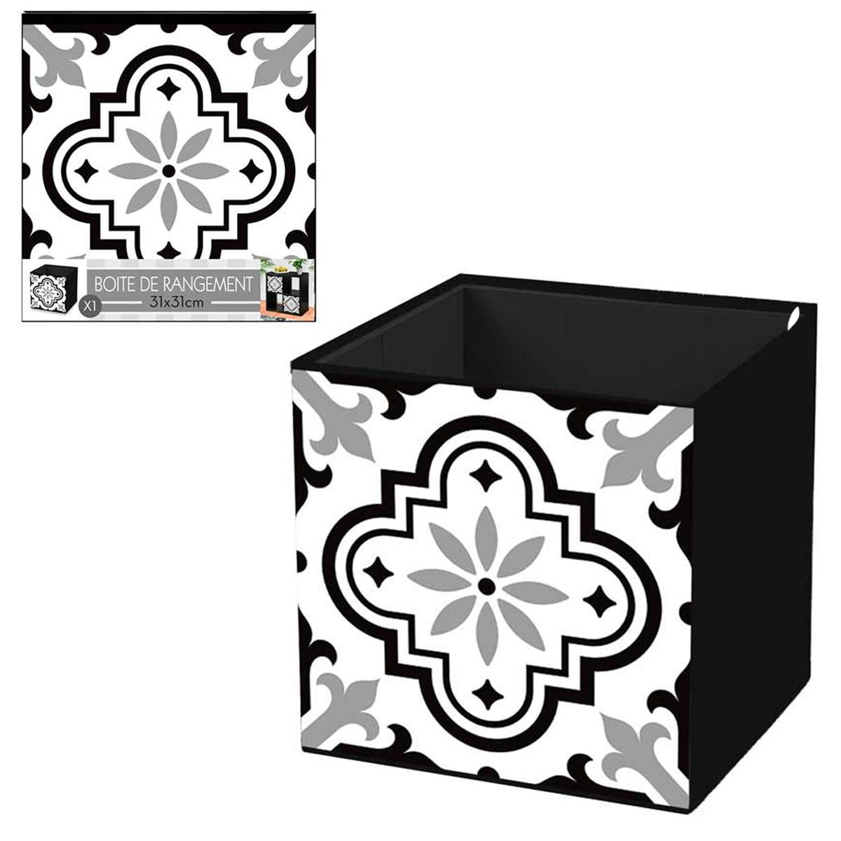 Cube de rangement \'Carreaux de Ciment\' noir blanc - 31x31 cm - [R2610]