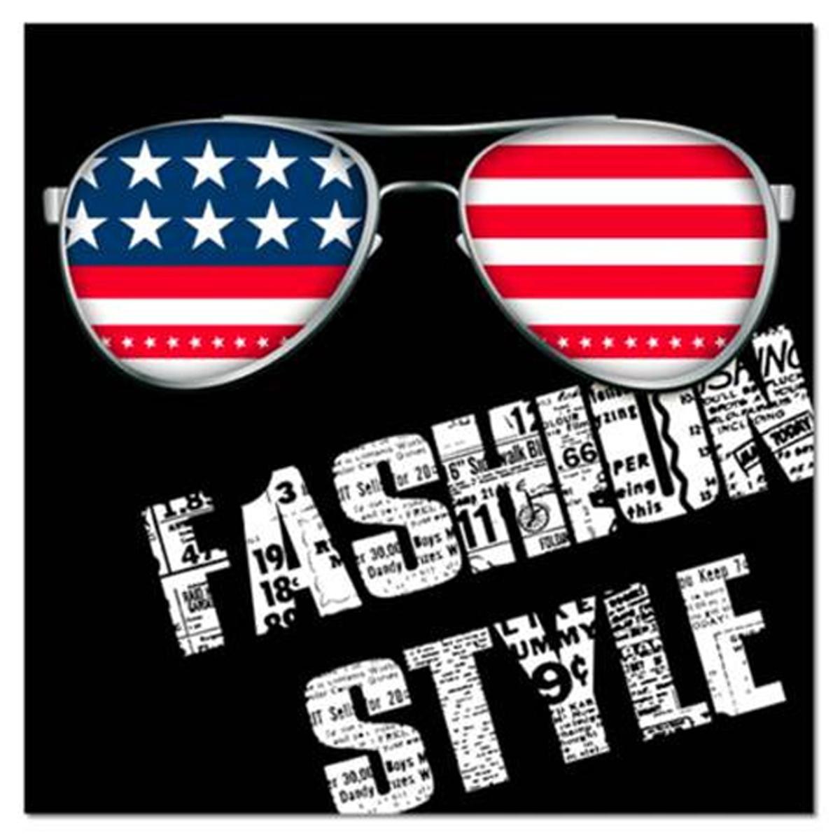 Toile \'America\' fashion style (lunettes) - 40x40 cm - [R2611]
