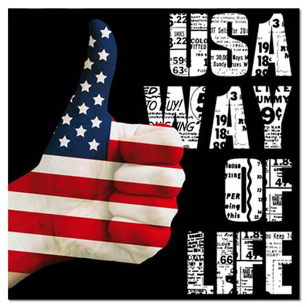 Toile \'America\' USA way of life (pouce) - 40x40 cm - [R2612]