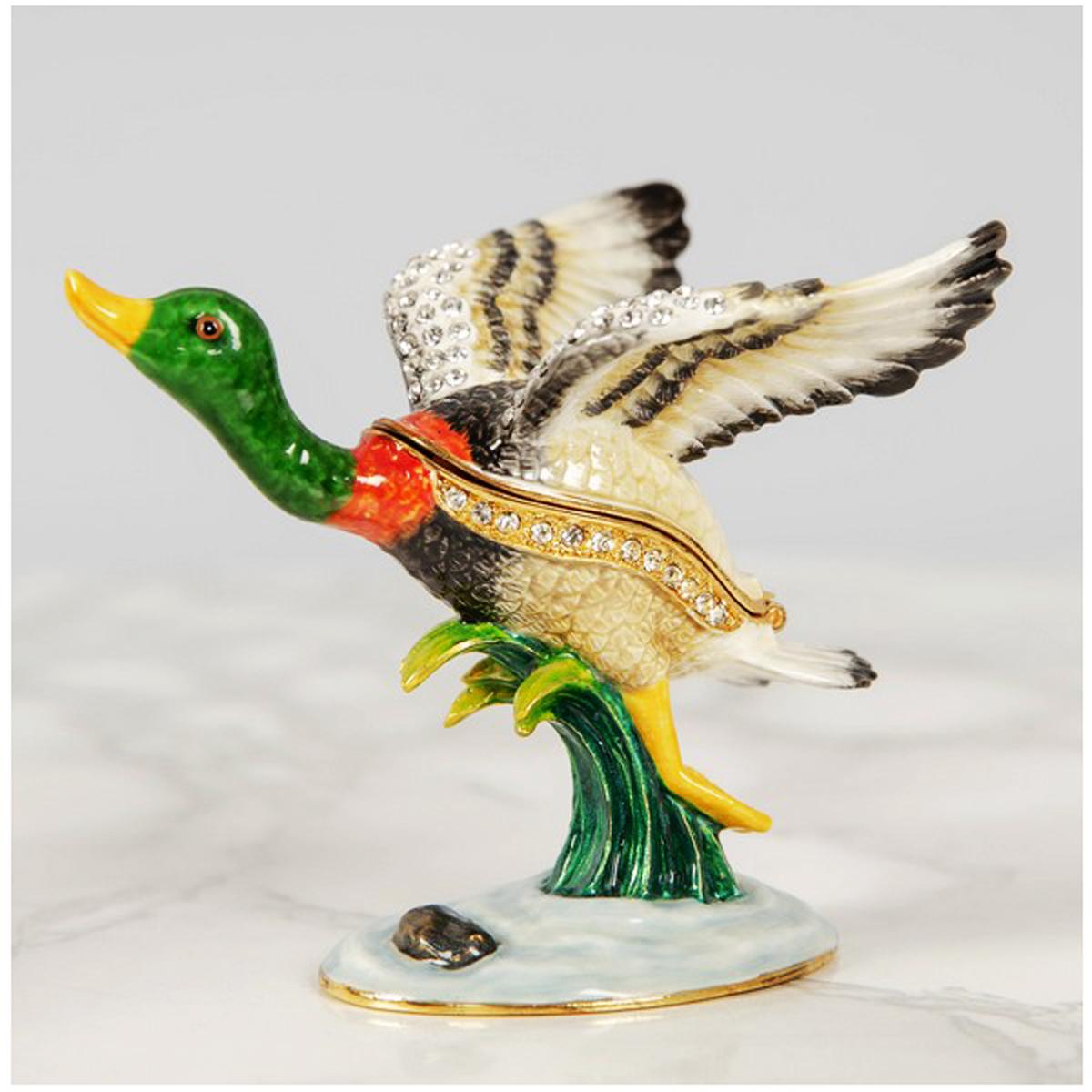 Coffret à Bijoux \'Canard en Vol\' vert multicolore - 8x7 cm - [R2657]