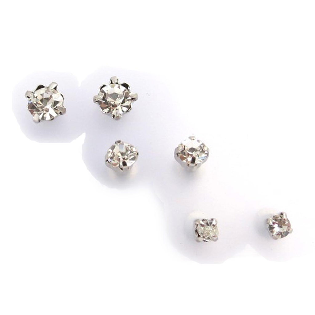 3 paires de boucles \'Cristal\' blanc - [J7743]