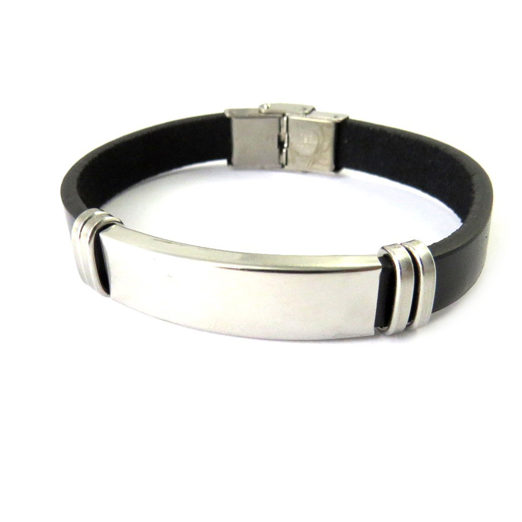 Bracelet acier \'Identité\' noir - [M6284]