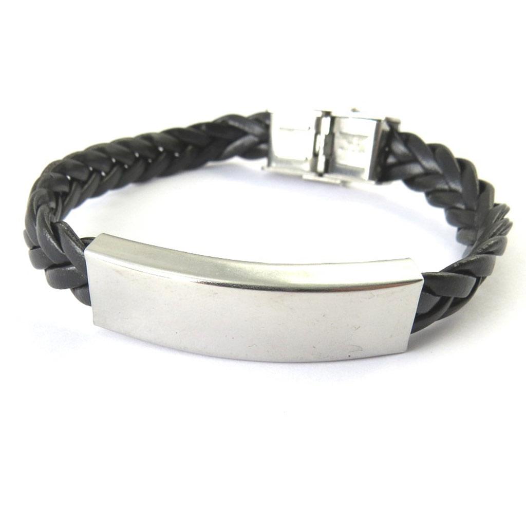 Bracelet acier \'Identité\' noir - [M6297]