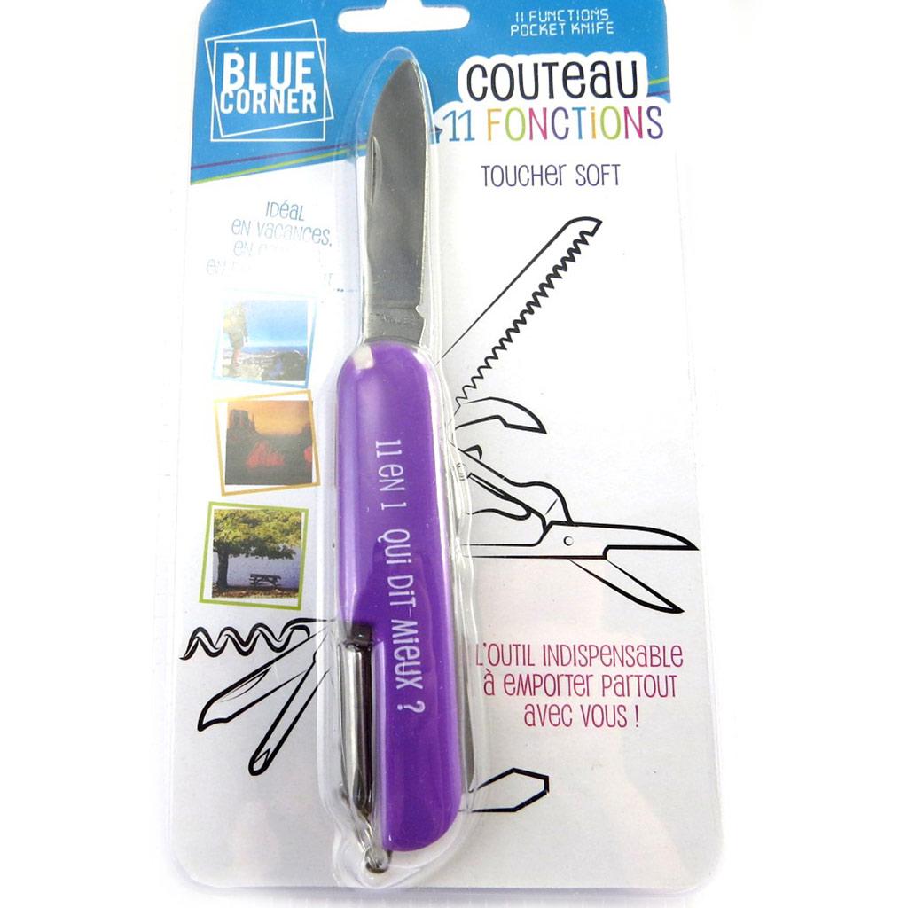 Couteau multifonctions \'Coloriage\' violet - 11 fonctions - [M6306]