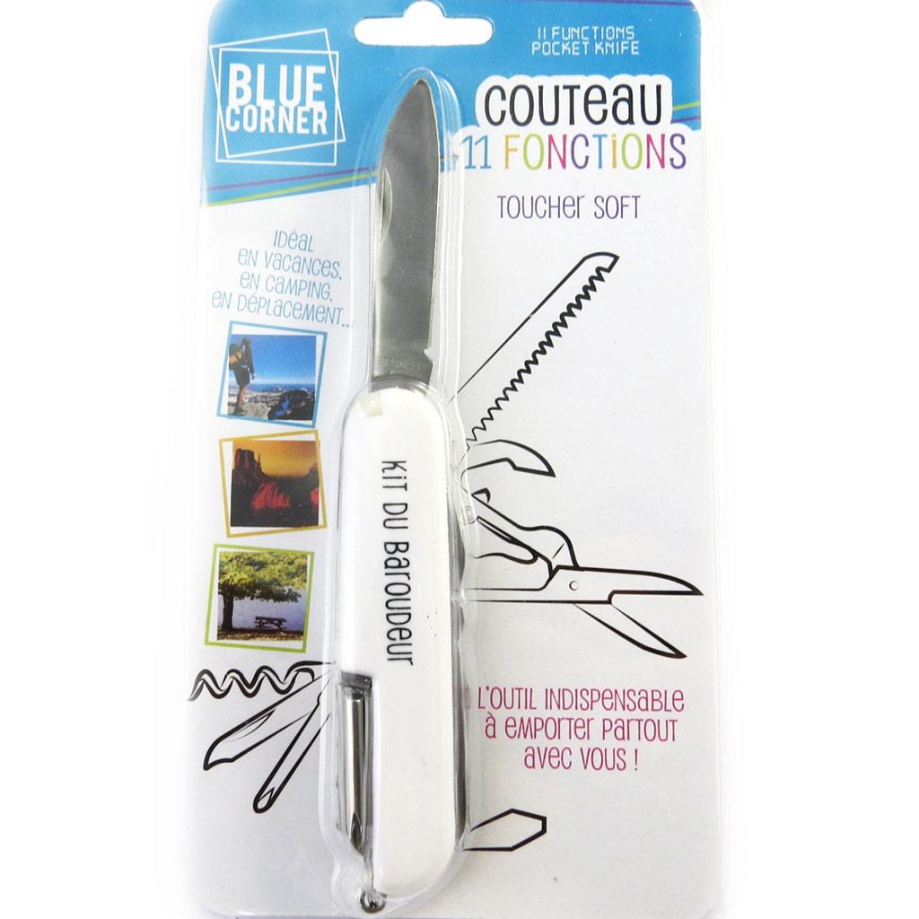 Couteau multifonctions \'Coloriage\' blanc (kit du baroudeur) - 11 fonctions - [M6309]