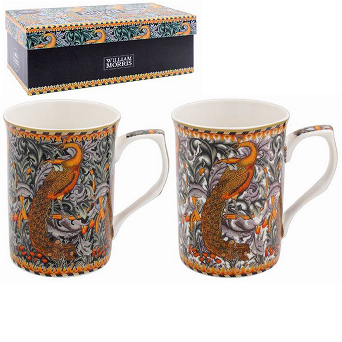 Coffret 2 mugs porcelaine \'William Morris Collection\' marron gris (Peacock) - 10x75 cm - [R2688]