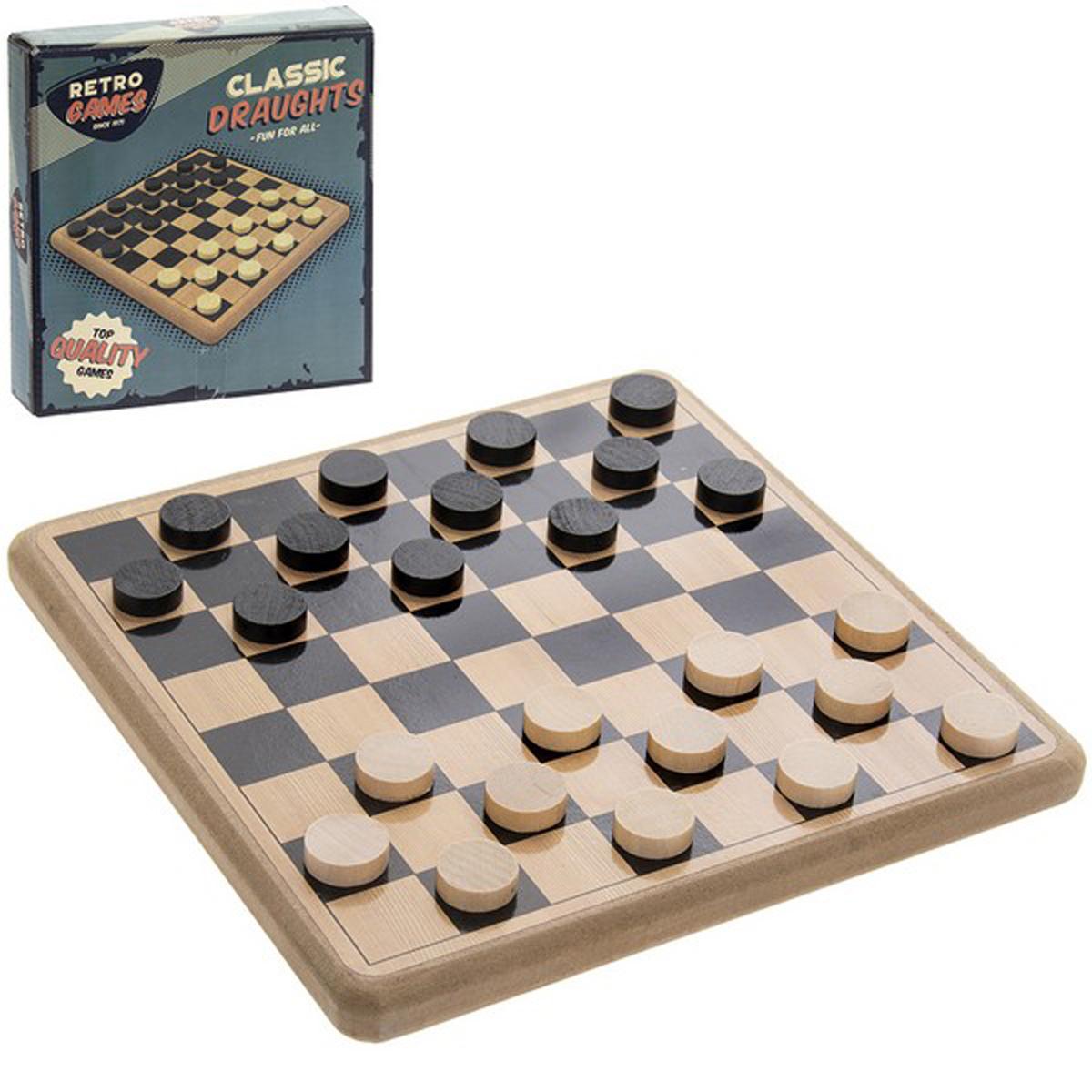 Jeux bois rétro \'Dames\' noir beige - 20x20x3 cm - [R2715]