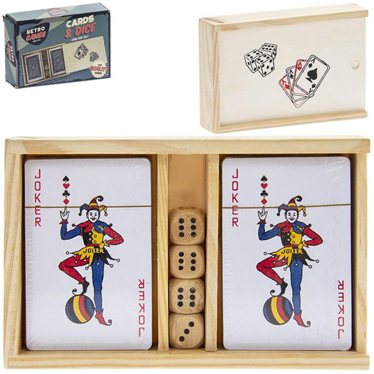 Jeux bois rétro \'Poker\' beige - 16x10x3 cm - [R2717]