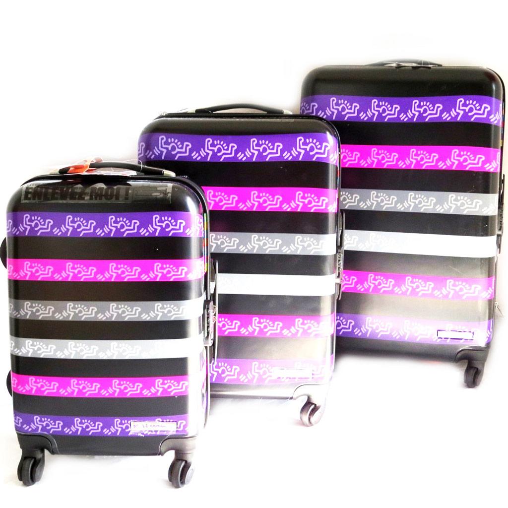 Set de 3 valises trolley ABS \'Keith Haring\' noir violet (51/61/71 cm) - [M6429]