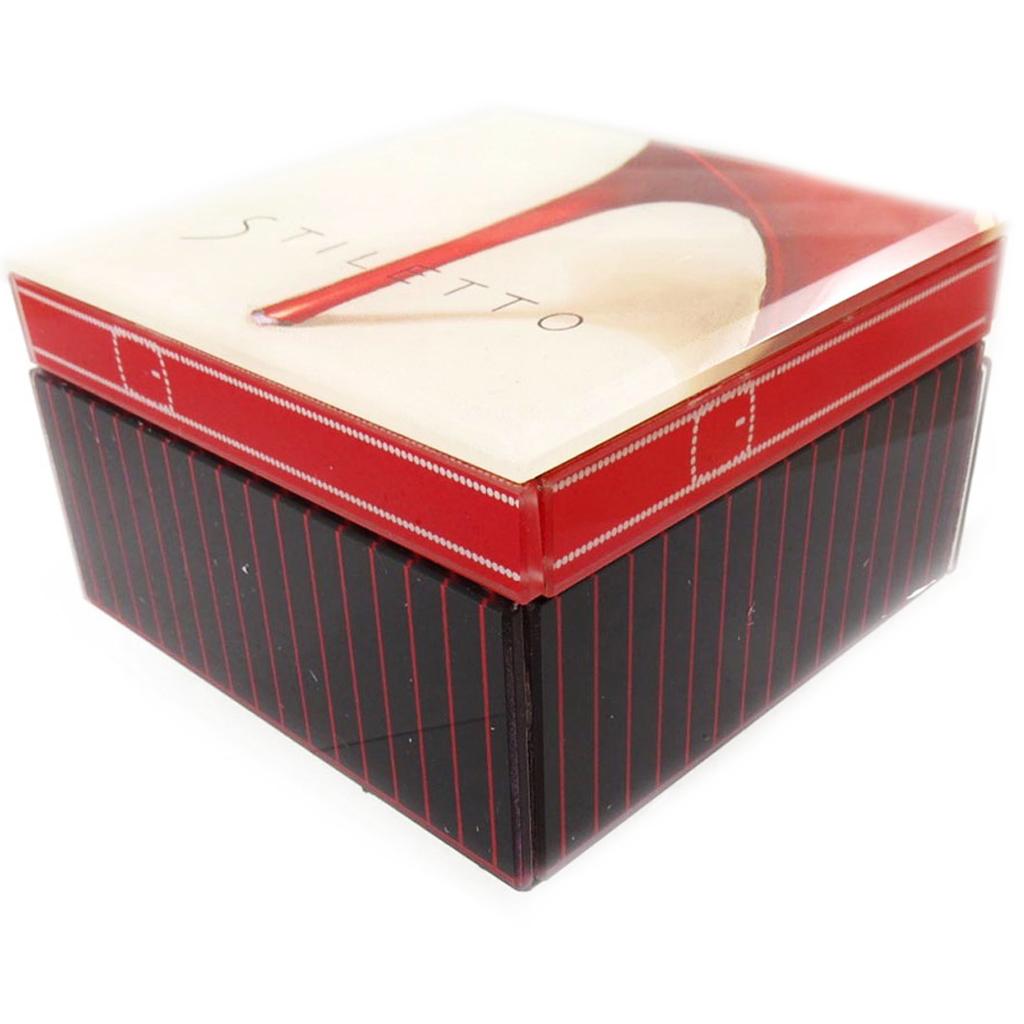 Coffret à Bijoux \'Belle Epoque\' noir rouge ivoire - [J7890]