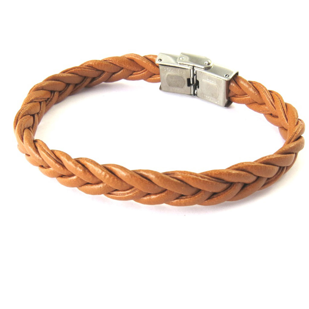Bracelet mixte \'Peaceful\' cognac (tressé) - [M6451]