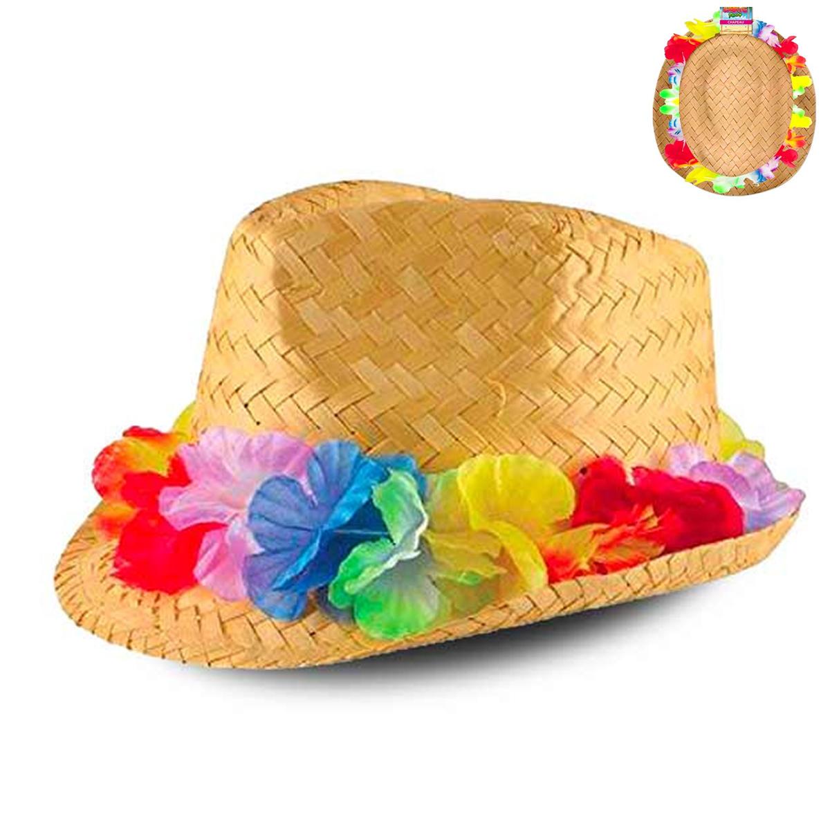Chapeau borsalino paille \'Hawaï\' beige multicolore - taille unique - [R2737]