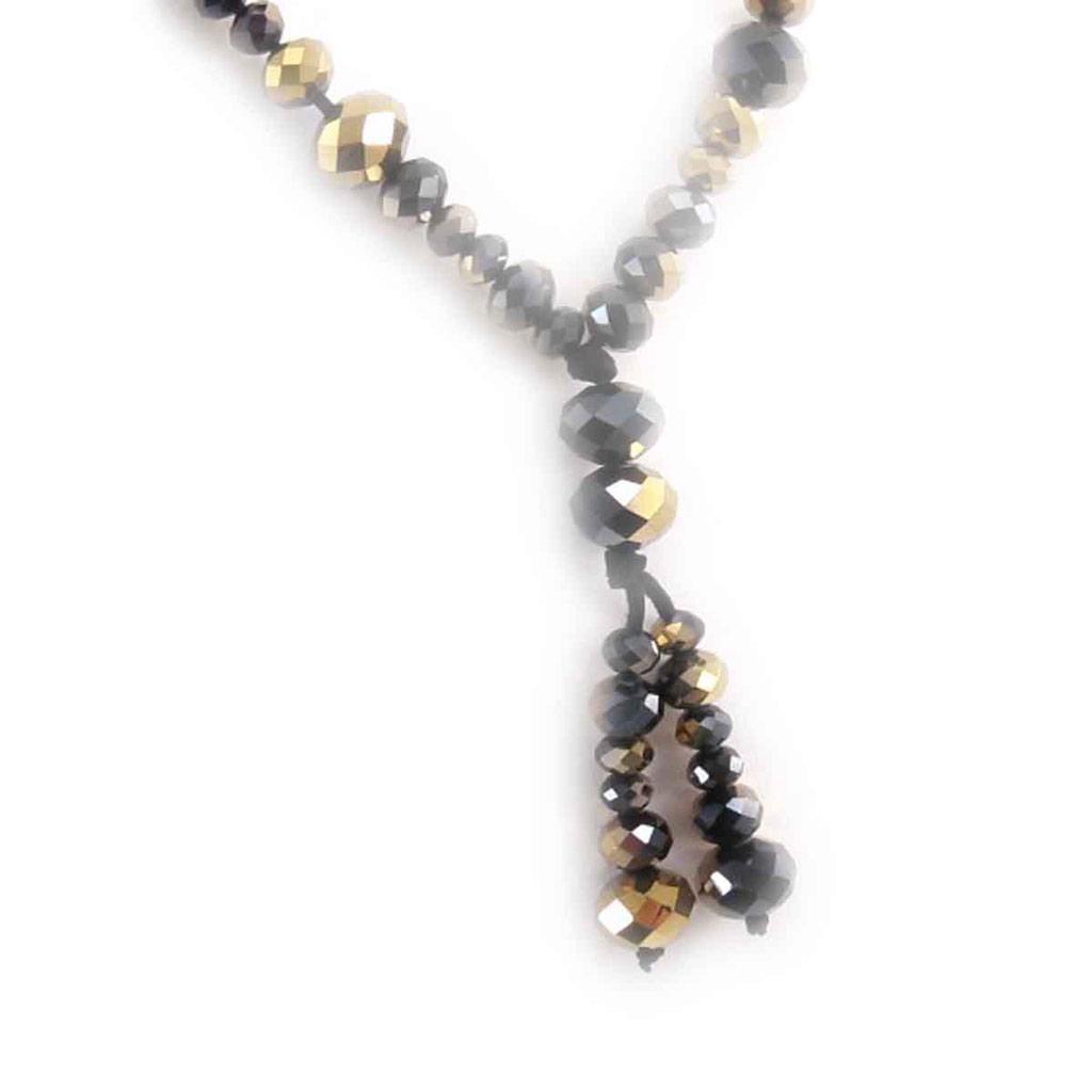 Collier \'Mineralia\' noir doré  - [J7955]