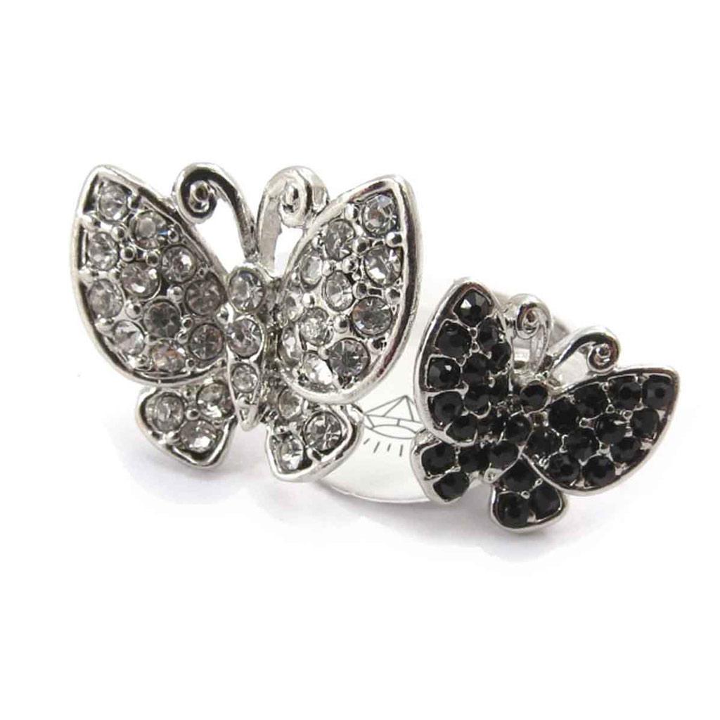 Bague \'Papillons\' noir blanc - [J8023]