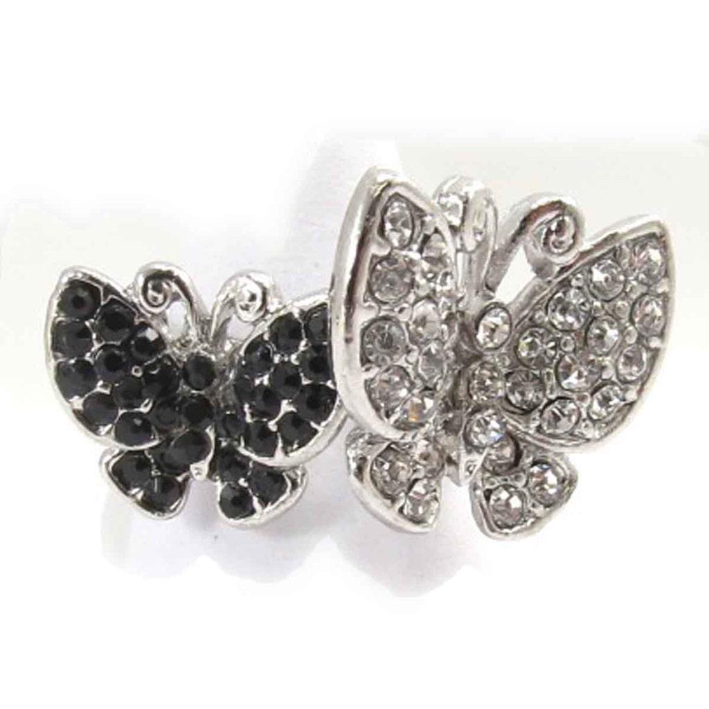 Bague \'Papillons\' noir blanc - [J8024]