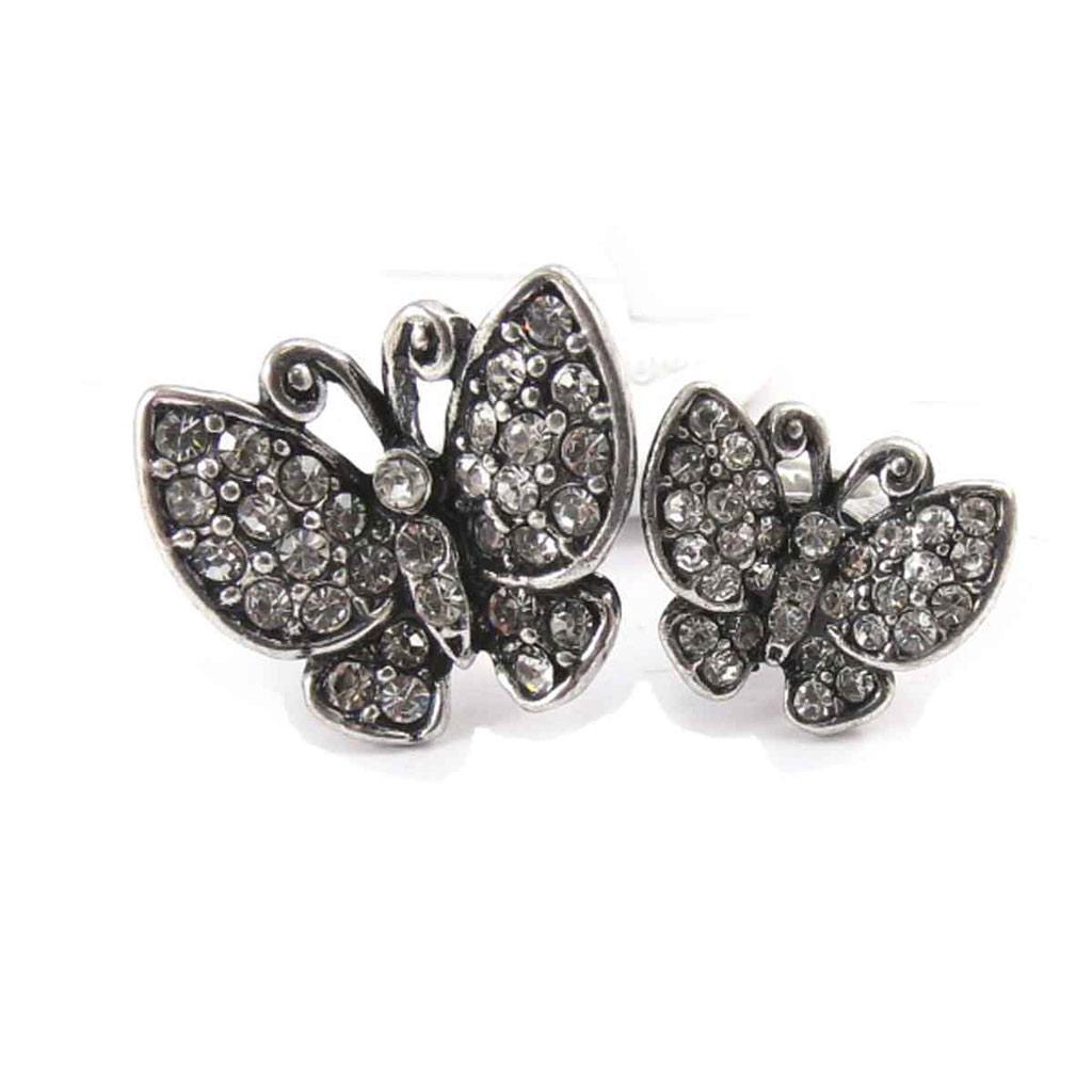 Bague \'Papillons\' blanc - [J8025]