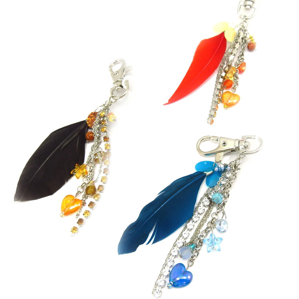 3 porte-clés \'Scarlett\' noir bleu rouge - [K6557]