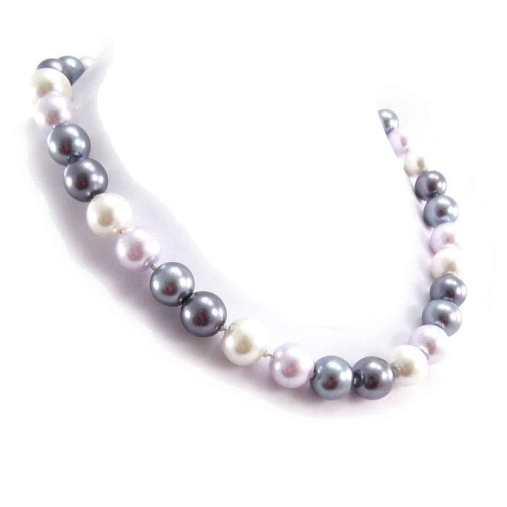 Collier \'Perla\' ivoire gris lilas (12 mm) - [J8099]
