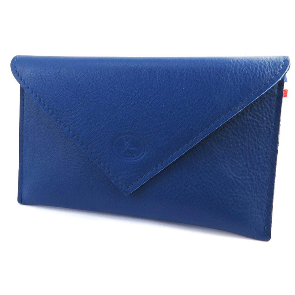 Porte Papiers de voiture Cuir \'Frandi\' bleu bicolore (ultra plat) - [M6639]