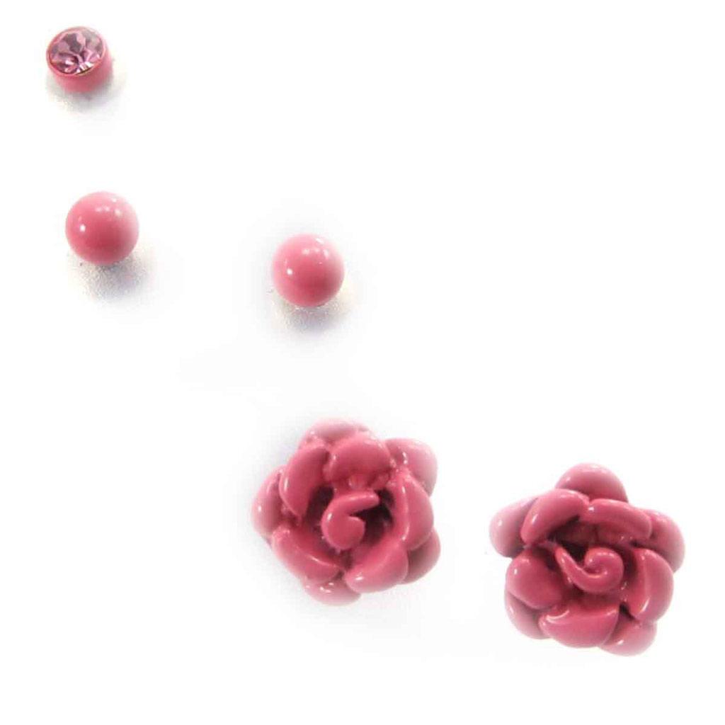 3 paires de boucles \'Rosa Romantica\' rose  - [J8125]