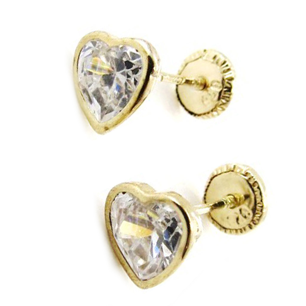 Boucles d\'Oreilles \'Love\' 5 mm (Or - 9 carats) - [I9982]