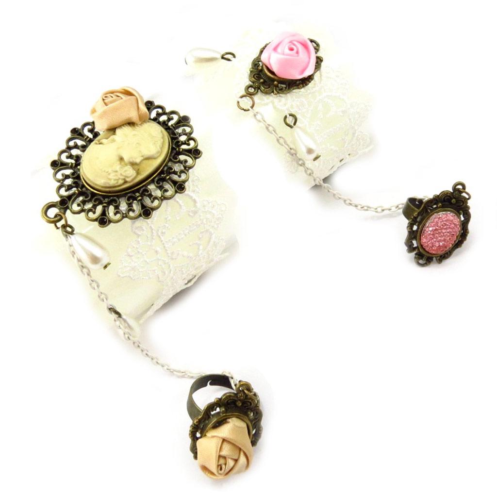 2 bracelets bagues \'Courtisanes\' ivoire rose (dentelle) - [K6579]