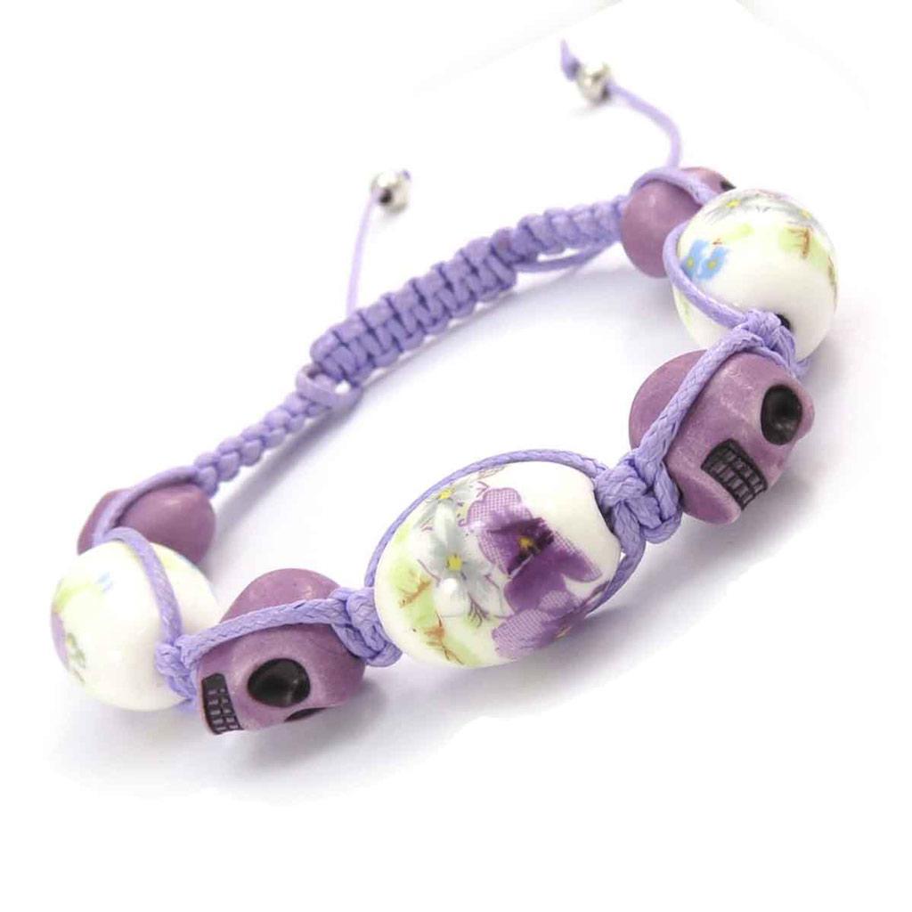 Bracelet créateur shambhala \'Tête de Mort\' liberty mauve - [J8560]