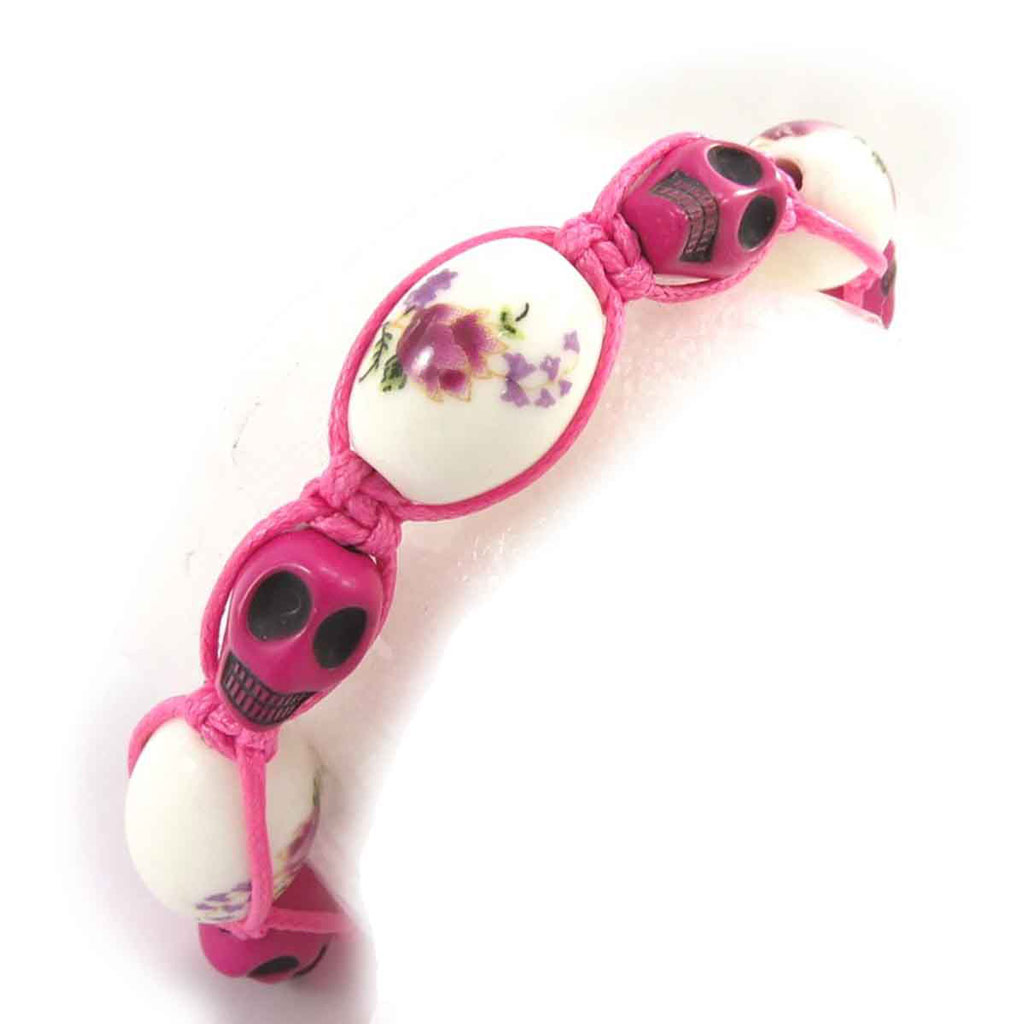 Bracelet créateur shambhala \'Tête de Mort\' liberty rose fuschia - [J8561]