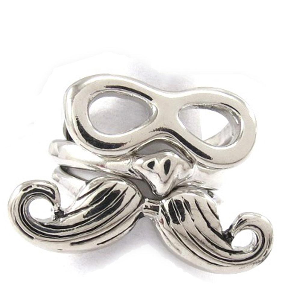 Bague Créateur \'Moustache\' argenté (3 bagues) - [J8590]